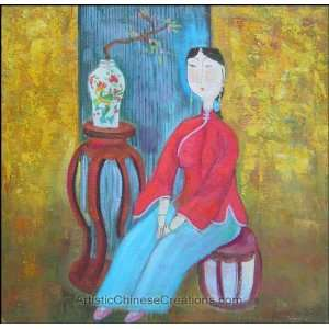 / Chinese Modern Art Chinese Oil Painting   Maiden