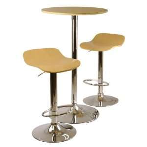 Kallie 3 Pc Pub Table and Stools Set in Natural