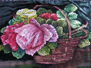 ANTIQUE FRENCH VELVET HP ROSES PAINTING LKE needlework