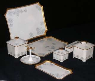 Limoges Hand Painted Ladies Dresser Set Foget Me Nots Design/ Gilt