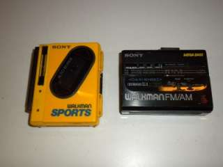 LOT 2   VINTAGE SONY AM/FM WALKMAN RADIO CASSETTE WM AF64 & WM F75