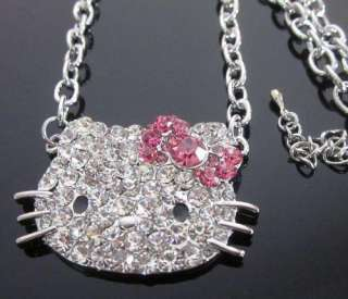 New Hello Kitty Diamante Pink Bow pendant necklace N14