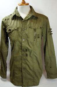 MENS MILITARY STYLE CASUAL SHIRT (7 COLORS) #8004 M 3XL