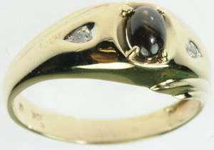 MENS 10K SOLID YELLOW GOLD DIAMOND TIGERS EYE GEMSTONE ESTATE RING