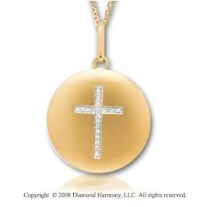 14k Yellow Gold Diamond Cross Disk Pendant Jewelry