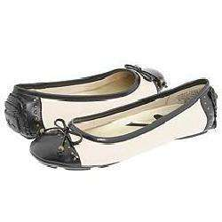 AK Anne Klein Buttons Ivory/Black Leather Flats