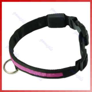 Nylon LED Flashing Light Pets Dogs Cats Safety Collar A