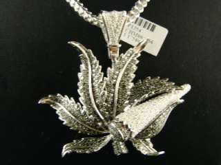 CUSTOM MENS WHITE GOLD FINISH MARIJUANA LEAF XL DIAMOND CHARM PENDANT