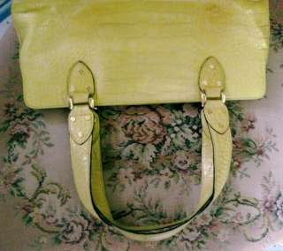 KATE SPADE Leather/CROCODILE Shoulder Bag & WALLET~PALE YELLOW Purse