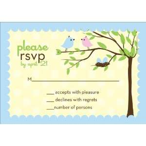 Bird Tree Egg Boy Twins Baby Shower Reply Cards