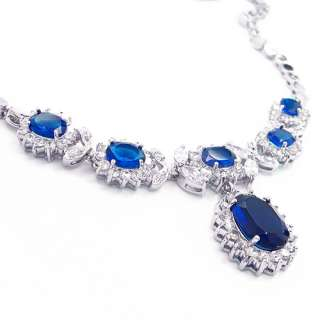 JEWELRY BLUE SAPPHIRE WHITE GOLD GP PENDANT NECKLACE NECK CHAIN