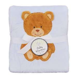 Baby Starters Boys Teddy Cuddle Blanket (30 x 40)   blue, one