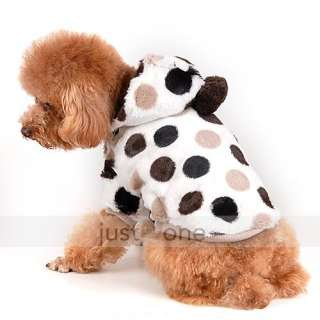 NEW Pet DOG Puppy Doggie Clothes Cute Big Dot milk cow Winter Warm