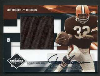 2009 Panini Limited Jim Brown Jumbo Game Used Worn Jersey Auto 04/25