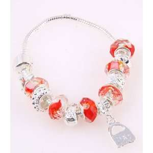 Desinger Murano Glass Bead Bracelet with Pattern Red
