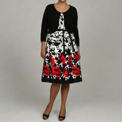 Jessica Howard Womens Plus Size Printed Cotton Dress with Sweater