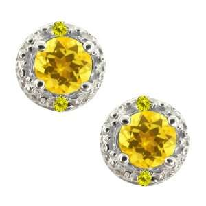 0.74 Ct Round Yellow Sapphire and Canary Diamond Sterling