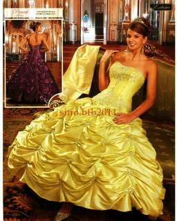 bright yellow ball gown prom dress party dress /custom size4 6 8 10 12