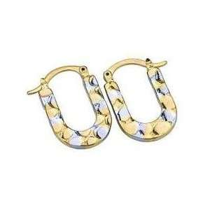 Horseshoe Hoop Earrings with Two Tone Gold Plating Jewelry