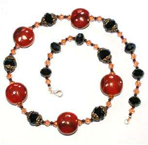 RED, JET BLACK & ANTIQUE GOLD CRYSTAL BEAD NECKLACE 21