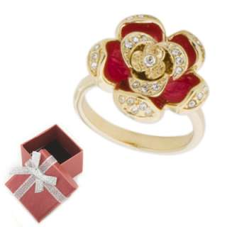 Red Enamel Rose Flower Fashion Ring Size 6 7 8 or 9