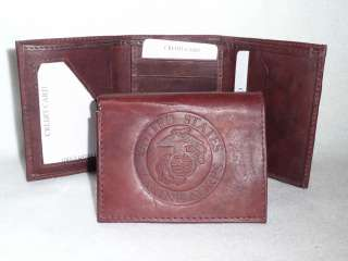 UNITED STATES MARINE CORPS Leather TriFold Wallet USMC NEW dk z