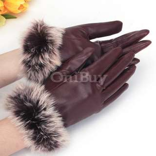 Women Winter Warm Rabbit Fur & PU Leather Full Finger