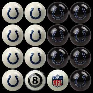 NFL INDIANAPOLIS COLTS POOL TABLE / BILLIARD BALL SET