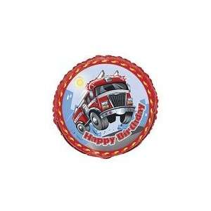 18 Fast Fire Truck Engine Happy Birthday   Mylar Balloon