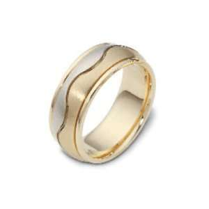 Carved & Engraved8.50 mm Wave 18K Two Tone Gold Wedding