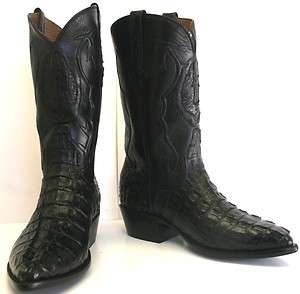 CROCODILE REAL SKIN TAIL CUT TOP BLACK DIAMOND WESTERN COWBOY BOOTS