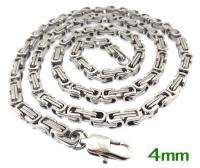 8mm Byzantine Chain Mens Stainless Steel Polish Silver Tone Necklace