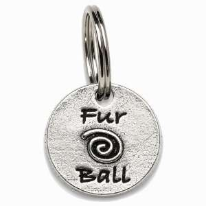 Fur Ball Designer Pewter Personalized Dog Collar Charm