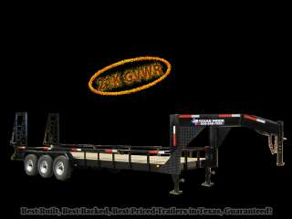 x24 (20+4) GOOSENECK LOW BOY FLATBED EQUIPMENT TRAILER 21K GVWR