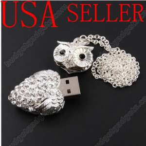 16 GB Crystal Owl USB Flash Drive Necklace