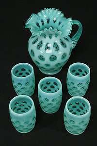 Blue Opalescent Glass Coin Dot Pitcher & 5 Tumblers Water Set