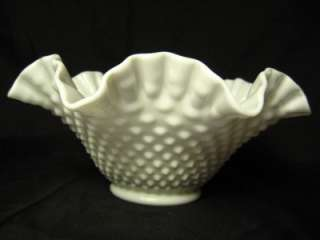 Vintage Fluted Hobnail White Milk Glass Fenton Bowl
