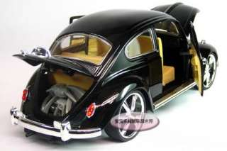 New Volkswagen Beetle Wecker 118 Alloy Diecast Model Car Black B117a