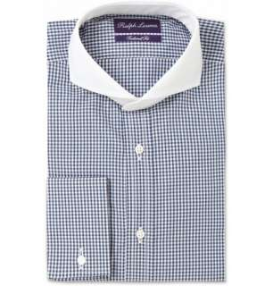 Ralph Lauren Purple Label Contrast Cutaway Collar Check Cotton Shirt