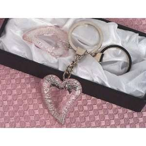 Murano art deco collection open heart Keychain favors.