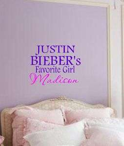 Personalized JUSTIN BIEBER Girl Wall Decal Sticky Vinyl