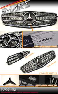 Black C63 AMG Style GRILLE GRILL for Mercedes Benz W204