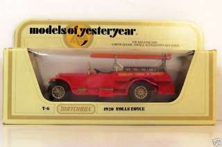 MATCHBOX ~ YESTERYEAR ~ Y 6 ~ 1920 ROLLS ROYCE FIRE ENGINE
