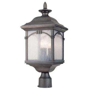 Hampton Bay 3 Light Outdoor Antique Silver Post Lantern  DISCONTINUED
