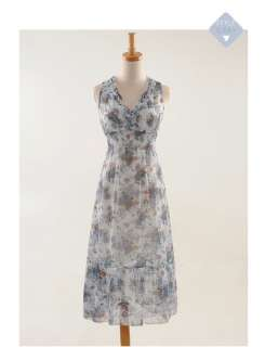 Korean Women V Neck Floral Dress 8409R,BNWT, BLUE,1 sz