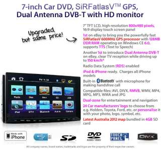 DIN Car DVD GPS Dual Antenna DVB T Player RMVB CD