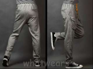Fashion Mens Casual Sport Trousers Harem Big Pocket Pants 3 Colors