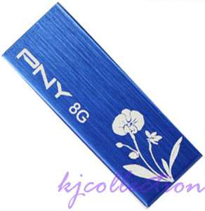 PNY 8GB 8G USB Flash Pen Drive Orchid Blue FLOWER CLIP ATTACHE