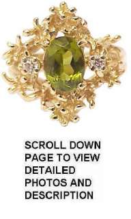 Gorgeous Retro Solid 14K Gold Peridot & Diamond Ring