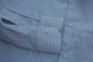NWT 12 Isaia Napoli Mens Blue Purple Stripe Dress Shirt Spread Collar